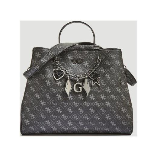 88e460050fe5f Shopper bag czarna Guess ze zdobieniami ze skóry ekologicznej w Domodi