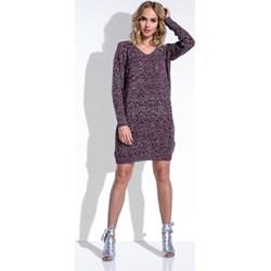 48cb7a9325 Fioletowa sukienka Fimfi prosta casual gładka dzienna