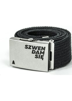 Parciany pasek do spodni z metalową klamrą SZWENDAM SIĘ czarny   Szwendam się - kod rabatowy
