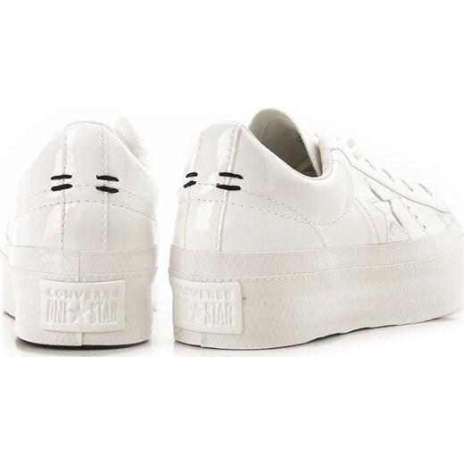 f858b1b861f2b ... Trampki damskie Converse na platformie białe bez wzorów sznurowane z  niską cholewką młodzieżowe ...