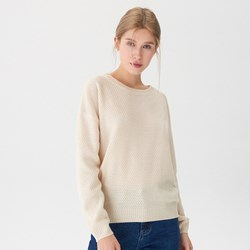 e437e549 Beżowy sweter damski House bez wzorów