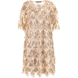 5fb0524acf Beżowe sukienki koktajlowe krótki rękaw midi