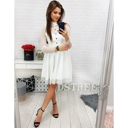 3f5e3dcc407d1 Sukienka Dstreet gładka biała midi z długimi rękawami z golfem