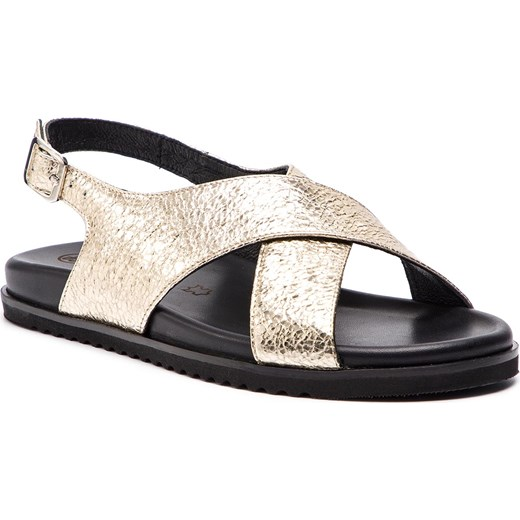 Sandały damskie Solo Femme z niskim obcasem casual złote z klamrą bez wzorów na koturnie Buty Damskie XT złoty Sandały damskie MMJS
