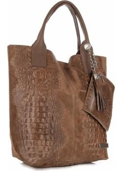 Torebka ze Skóry Naturalnej firmy VITTORIA GOTTI Made in Italy Aligator Ziemista  Genuine Leather torbs.pl promocyjna cena  - kod rabatowy