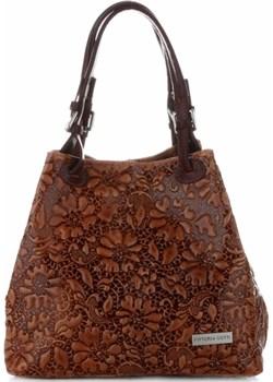 Uniwersalne Torebki Skórzane ShopperBag VITTORIA GOTTI Brązowe Vittoria Gotti  promocja torbs.pl  - kod rabatowy
