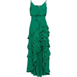 368ebdee Sukienka Bonprix zielona bez wzorów maxi asymetryczna na ramiączkach  elegancka