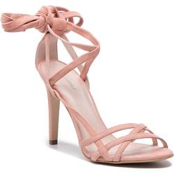 fa1bf6c4fe635 Sandały damskie Gino Rossi na wysokim obcasie różowe gładkie wiązane