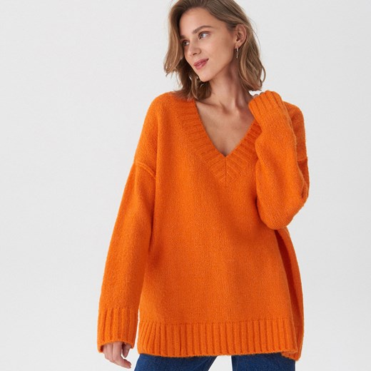 e7d88266a8 Sweter damski House pomarańczowa z dekoltem v w Domodi