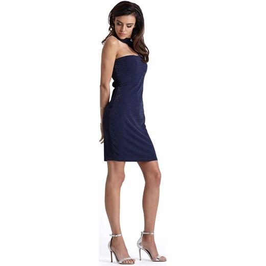 82d2998b01 ... dopasowana niebieska  Sukienka Jestes Modna z długim rękawem na  sylwestra
