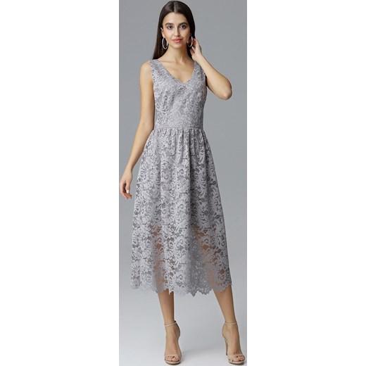 1ba26ab089 CM4088 Koronkowa sukienka maxi bez rękawów - szara Figl 38 (M) Cudmoda ...
