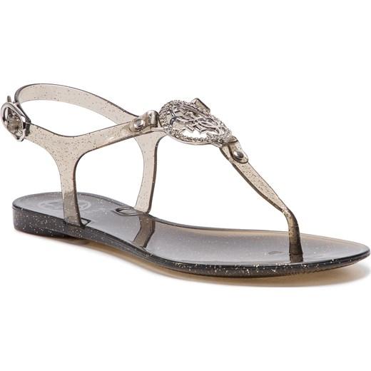 9f5546610f757 Złote sandały damskie Guess z tworzywa sztucznego bez wzorów płaskie z  klamrą casualowe