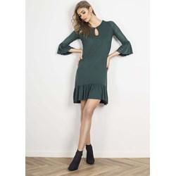 f78aa500 Sukienka zielona Wow Point z długim rękawem casualowa z okrągłym dekoltem  na uczelnię