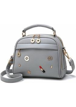 modna mała torebka kuferek z wzorami - SZARA - 671  Savani  - kod rabatowy