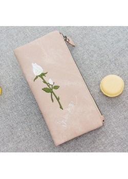 portfel miękki haftowane kwiaty - rożowy - 821 Savani   - kod rabatowy