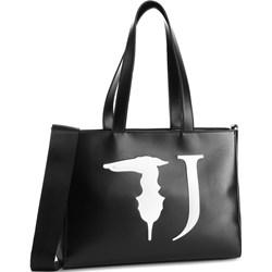 607bb5e3f763c Shopper bag Trussardi Jeans na ramię czarna z nadrukiem ...