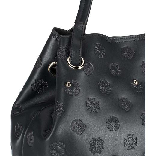 98ad44735851a ... Granatowa shopper bag Wittchen bez dodatków z tłoczeniem na ramię  mieszcząca a5 elegancka