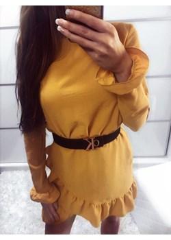 SUKIENKA ARIANA MUSZTARDOWA FALBANKI  brazowy Yasmin Boutique - kod rabatowy