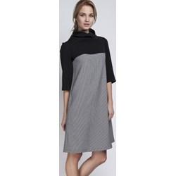 41c9439bb1 Sukienka Lanti szara z golfem prosta mini