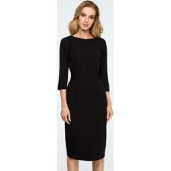 acd6059c37cadf Sukienka Style do pracy midi z okrągłym dekoltem bez wzorów ołówkowa
