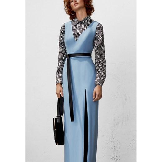 70d4e6c97e Sukienka Bohoboco maxi niebieska na wieczór z długim rękawem w Domodi