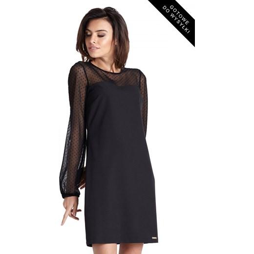 a96070a4555626 Sukienka Ivon mini z okrągłym dekoltem z długim rękawem w Domodi