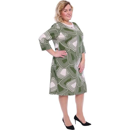 480e6762a2 ... Sukienka z okrągłym dekoltem zielona prosta midi z elastanu z długimi  rękawami ...