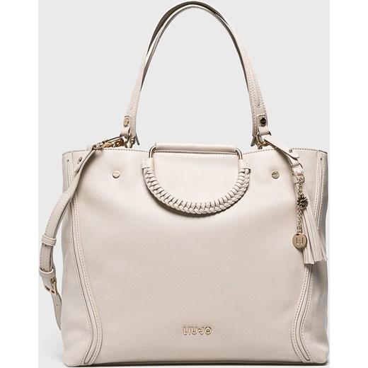 920c99047c280 Beżowa shopper bag Liu•jo średniej wielkości z poliestru matowa casual