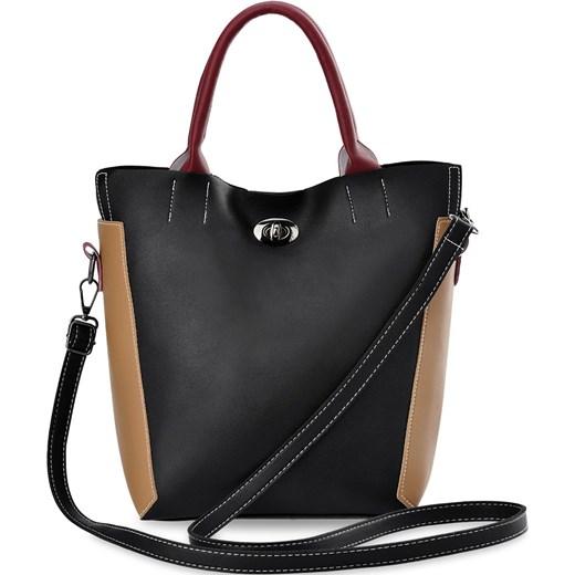 75431ee8c5418 Shopper bag czarna na ramię ze skóry ekologicznej elegancka mieszcząca a6