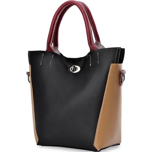 ee32291c4f849 ... Oryginalna torebka damska trójkolorowa shopperka o niepowtarzalnym  designie - brązowo-czarna world-style.
