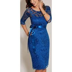 8824a2602f Sukienka Estera niebieska midi koronkowa