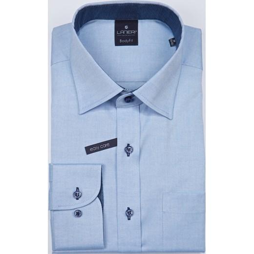 a9655080f Koszula męska Lanieri elegancka z tkaniny ze stójką niebieska bez wzorów