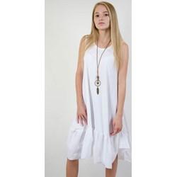 e035922131 Sukienka Olika bez wzorów biała mini z okrągłym dekoltem