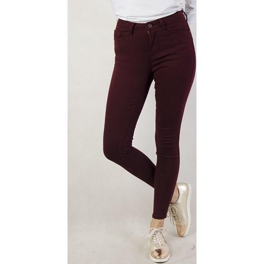 63d681cba63b Bordowe spodnie skinny z wysokim stanem brazowy olika.com.pl w Domodi