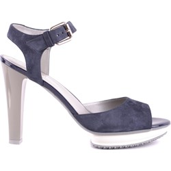 b2c7fb2c2ffa6 Sandały damskie Hogan bez wzorów niebieskie zamszowe na słupku eleganckie z  klamrą na wysokim obcasie