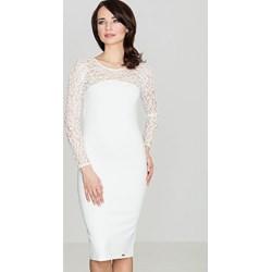 4fb984a972 Sukienka biała Global midi z długim rękawem koronkowa ołówkowa