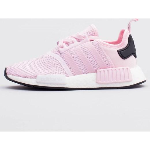 Buty sportowe damskie Adidas sneakersy nmd na koturnie bez wzorów różowe sznurowane