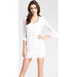 44fa762249 Sukienka biała Guess z długim rękawem z koronką dzienna dopasowana