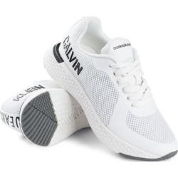 8e0188e35d4ea Buty sportowe damskie białe Calvin Klein sneakersy w stylu młodzieżowym bez  wzorów wiązane