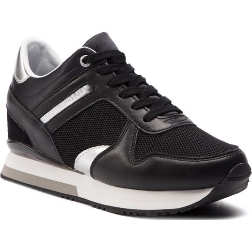 808d5b3b4555f Sneakersy TOMMY HILFIGER - Glitter Textile Wedge Sneaker FW0FW03893 Black  990 Tommy Hilfiger 39 eobuwie.