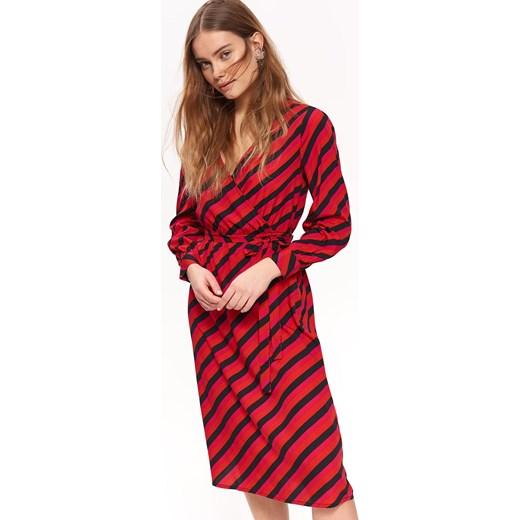 debaac261753c2 Sukienka Top Secret czerwona kopertowa z długim rękawem w Domodi