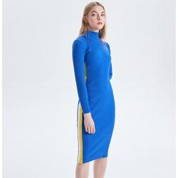 6a17bdd5c4 Sukienka Cropp niebieska gładka z golfem na co dzień