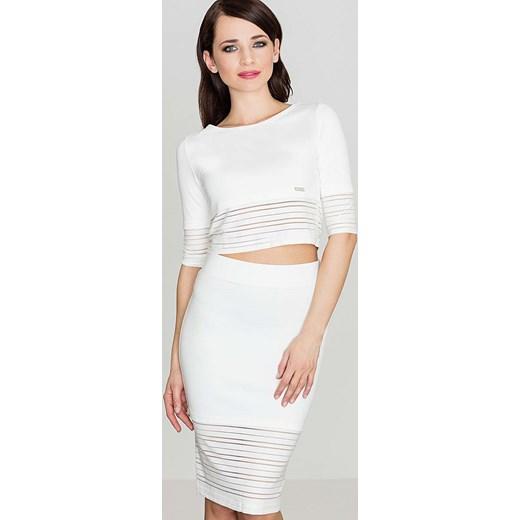 aa8a7fd5cac88e Spódnica biała Katrus midi elegancka bez wzorów w Domodi