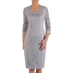 eebc802b27 Sukienka z tkaniny koronkowa z krótkim rękawem midi elegancka na wesele