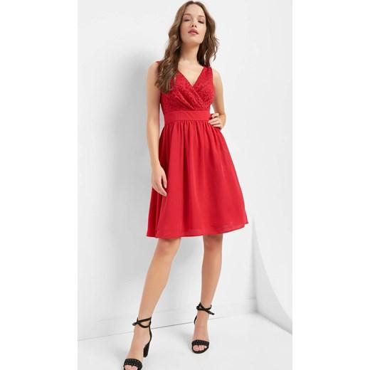 09a08450d4 Sukienka różowa ORSAY na wesele z tkaniny rozkloszowana midi koronkowa ...