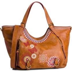 65749fdd58566 Shopper bag brązowa Desigual casualowa