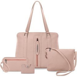 f1fefce1147b6 Shopper bag różowa elegancka bez dodatków matowa na ramię ze skóry  ekologicznej