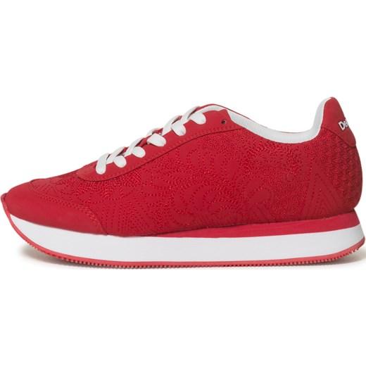 Sneakersy damskie Desigual na wiosnę z tkaniny na płaskiej