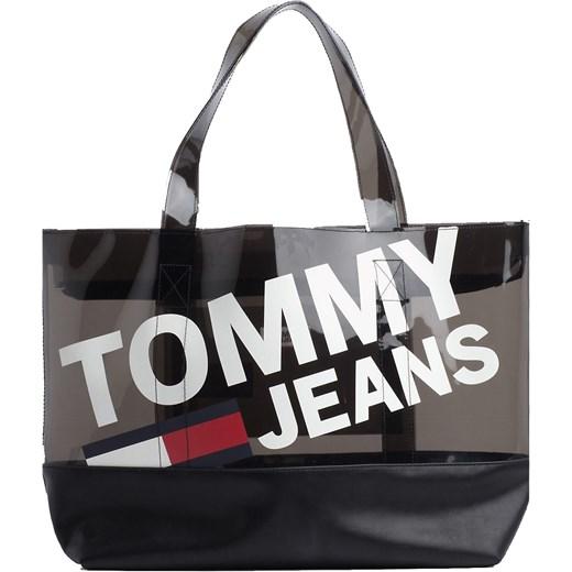 f1c2363eab769 Shopper bag Tommy Hilfiger na ramię bez dodatków  Shopper bag czarna Tommy  Hilfiger na ramię duża młodzieżowa