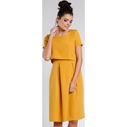 1bde4b30bc Pepe sukienka żółta luźna z krótkim rękawem z okrągłym dekoltem oversize